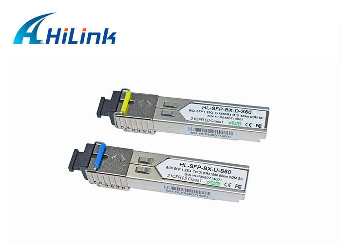 1.25G 1310/1550nm Bidirectional Fiber Optic SFP Transceiver Module Single Mode DOM With SC/LC Connector
