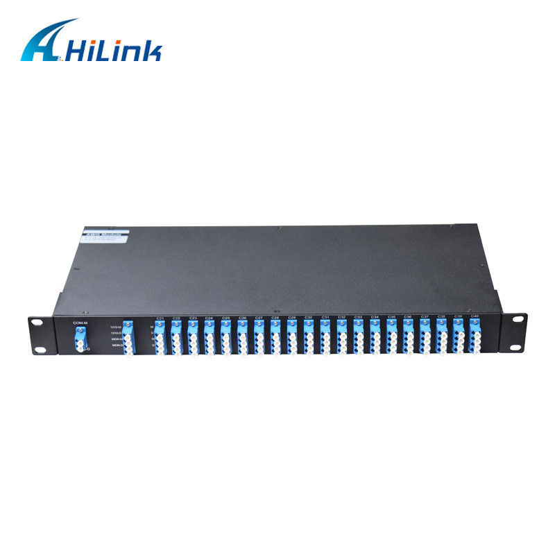 Flat Top DWDM Multiplexer 1310nm OSC Port Monitor Port 1U Rack Mount 100GHz Duplex LC/UPC C21-C60 40CH