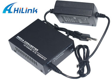 China Optic Fiber 10M 100M 20KM Media Converter Single Mode AC220V External Power distributor
