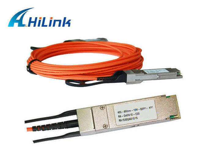 Data Centers 40GE QSFP AOC Active Fiber Optic Cable Multi Mode